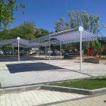 lapseki belediyesi tenteleri, lapseki çay bahçesi tentesi, tente imalatı, çift açılımlı tente imalatı,
