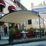 waffle tente, wafflecı pergola, waffle art raylı pergola, cafe kapalı alan, cafe açılır tavan, cafe sigara alanı,